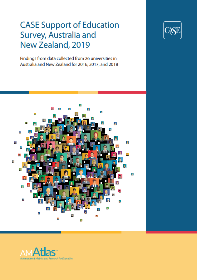 Front cover of the CASE Support of Education Survey, Australia and New Zealand 2019 report