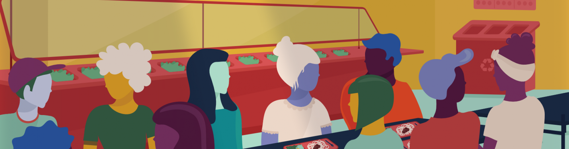 illustration of students in a cafeteria