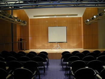 Multi-Purpose Room Set Up Theater-Style Facing Stage