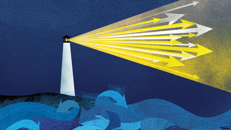 Illustration of an illuminating lighthouse in a turbulent sea
