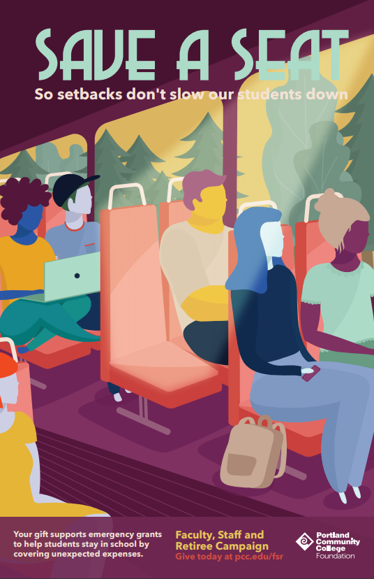 cartoon people riding a bus