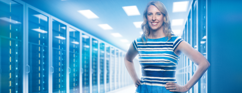 woman standing in server farm