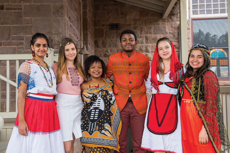 Students from UWC-USA representing (from left to right) Paraguay, Ukraine, Kingdom of Eswatini, Democratic Republic of Congo, Albania, and Kurdistan.
