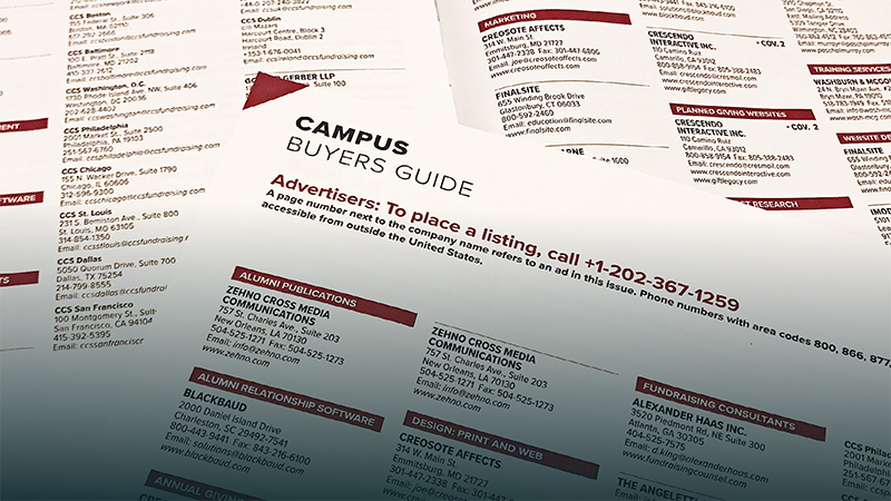 Photo of various Campus Buyer Guides in physical copies of Currents magazine