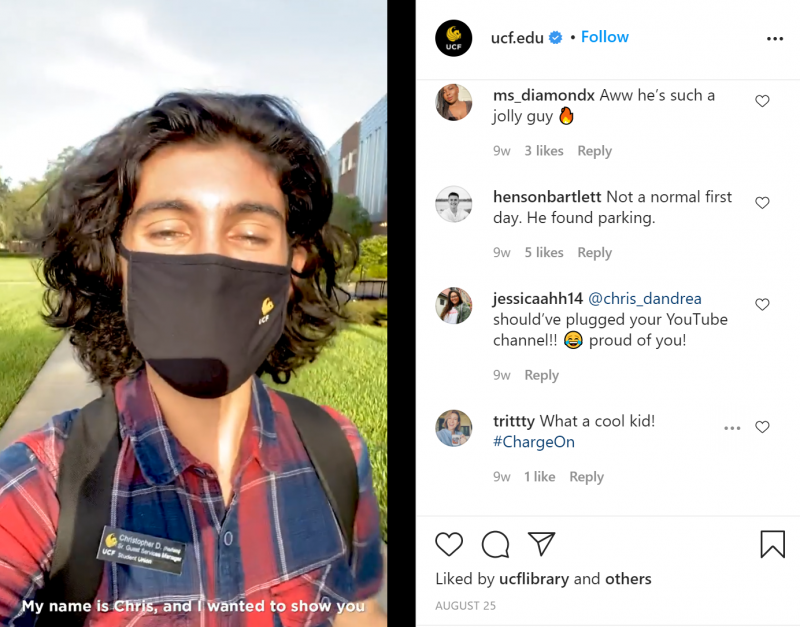 Screengrab of an Instagram post with a student (Chris) talking about his first day back on University of Central Florida's campus.