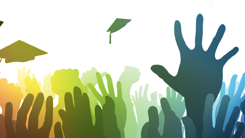 multiple raised hands and graduation aps in the air with rainbow colors