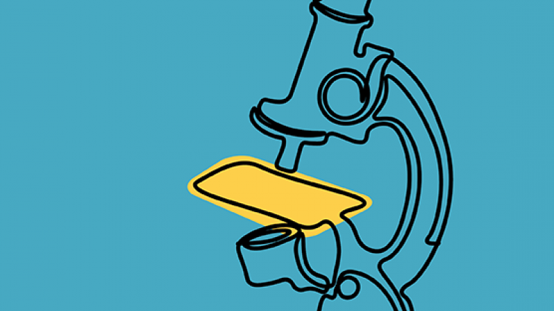 Microscope on a blue background