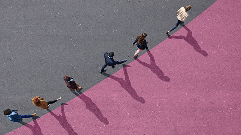 Six people walking in a stylized teaser image for Marketing Matters