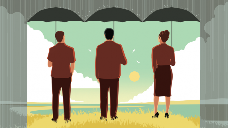 CARTOON: Rain parted at center with three people holding umbrellas