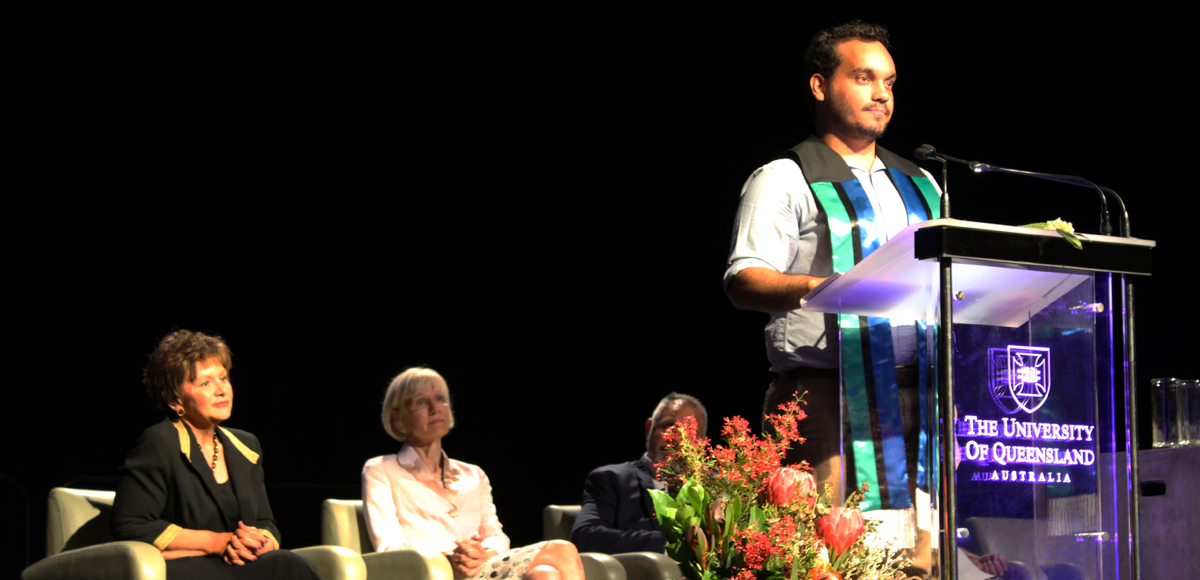 Graduate Zane Higgins speaks at the University of Queensland's Aboriginal and Torres Strait Islander Cultural Sashing Ceremony